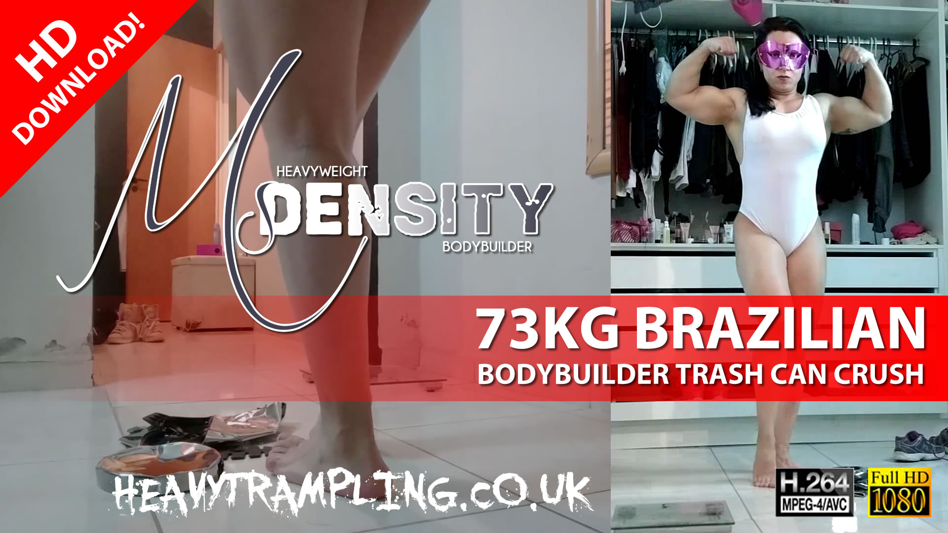 73KG Brazilian Bodybuilder Ms Density Crushes Metal Trash Can Under Her Weight